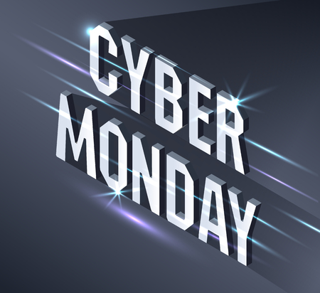 Cyber Monday Web Banner. Data visualization concept. 3d isometric vector illustration. Illustration