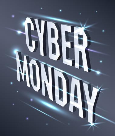 Cyber Monday Web Banner. Data visualization concept. 3d isometric vector illustration. Stok Fotoğraf - 109279140