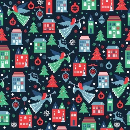 Patrón sin fisuras con copos de nieve y ángeles para envases navideños, textiles, papel tapiz.
