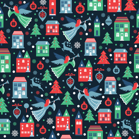 Seamless pattern with snowflakes and angels for Christmas packaging, textiles, wallpaper. Ilustração
