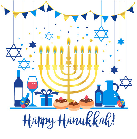 Jewish holiday Hanukkah greeting card traditional Chanukah symbols Reklamní fotografie - 109810022