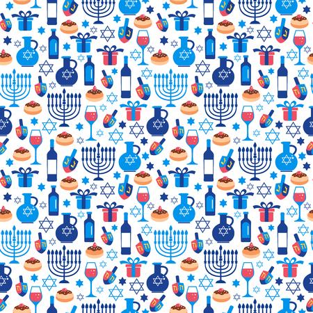 Jewish holiday Hanukkah greeting card traditional Chanukah symbols.