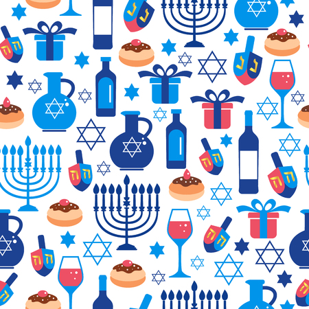 Jewish holiday Hanukkah greeting card traditional Chanukah symbols.