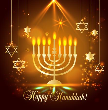 Happy Hanukkah Shining Background with Menorah, David Star and Bokeh Effect. illustration on blue.
