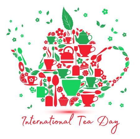 International tea day icon - teapot with the icons of tea. Çizim