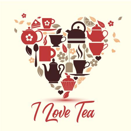I love tea. Tea icons in the heart. Ilustração