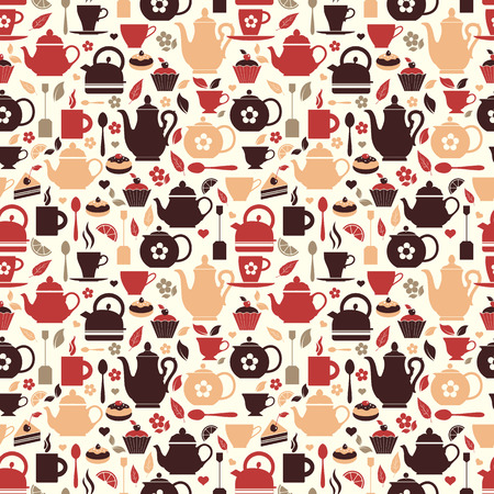 Seamless pattern of tea symbol. Vector Illustration