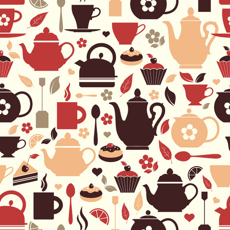 Seamless pattern of tea symbol. Çizim
