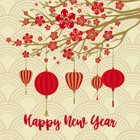 Chinese New Year Background. Red Blooming Sakura Branches on Gold Backdrop.