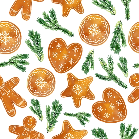 Christmas and New Year seamless pattern. Фото со стока