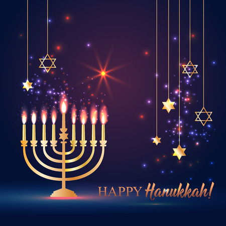 Happy Hanukkah Shining  with Menorah, David Star and Bokeh Effect. illustration on dark.