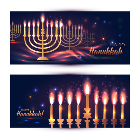 Happy Hanukkah Shining  with Menorah, David Stars and Bokeh Effect. Set of banners on dark.