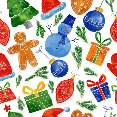 Watercolor Christmas seamless pattern of hand drawn elements.