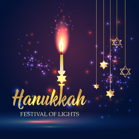 Happy Hanukkah Shining  with candle, David Star and Bokeh Effect. Illustration