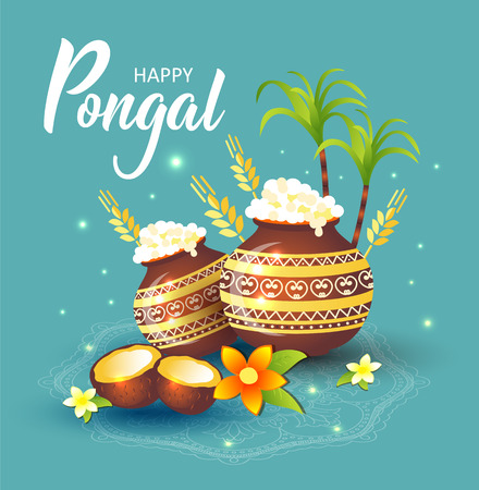 illustration of Happy Pongal Holiday Harvest Festival of Tamil Nadu South India. Stock Vector - 122041842