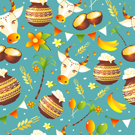 South Indian Festival Pongal Background Template Design Seamless pattern Stock Vector - 122041844