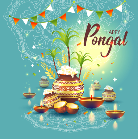 illustration of Happy Pongal Holiday Harvest Festival of Tamil Nadu South India.