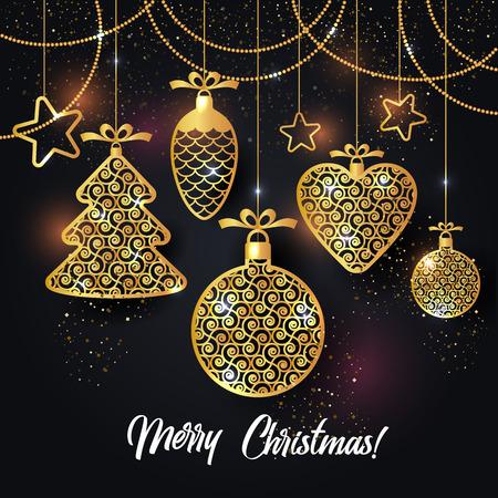 Illustration vectorielle de fond de Noël avec des confettis de flocon de neige étoiles boule de Noël or. Vecteurs