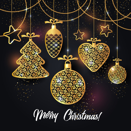 Vector illustration of christmas background with christmas ball star snowflake confetti gold.