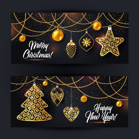 Vector illustration of christmas background with christmas ball star snowflake confetti gold on black color.