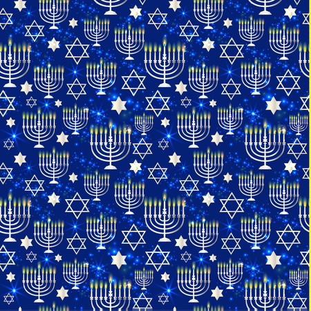 Happy Hanukkah Shining with Menorah, David Star and Bokeh Effect. Stock Illustratie