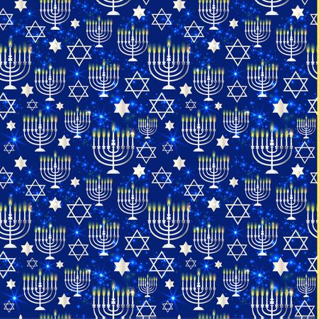 Happy Hanukkah Shining with Menorah, David Star and Bokeh Effect. Illustration