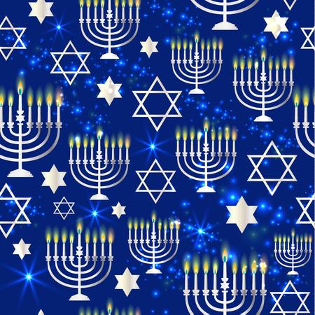 Happy Hanukkah Shining with Menorah, David Star and Bokeh Effect. Vectores