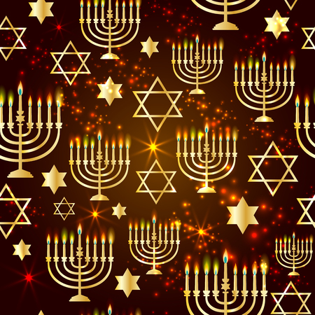 Happy Hanukkah Shining with Menorah, David Star and Bokeh Effect. Illustration