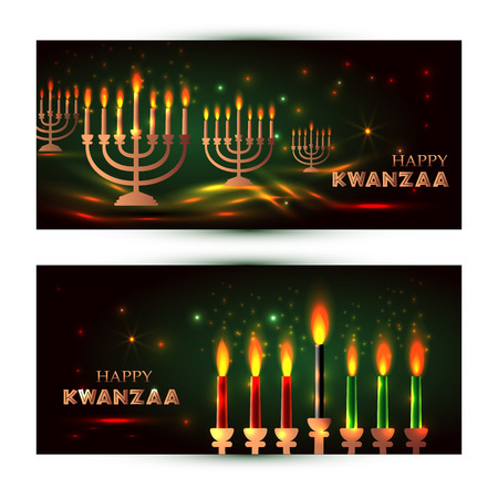 Horizontal Banners set for Kwanzaa with traditional colored and candles representing the Seven Principles or Nguzo Saba .
