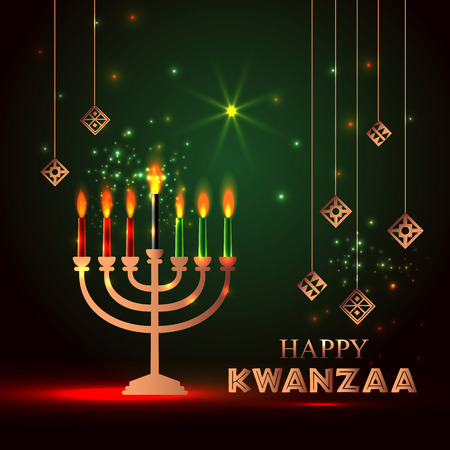 Vector Banner for Kwanzaa with traditional candles.