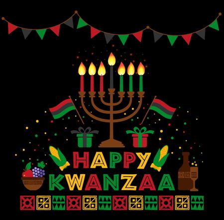 Bannière pour Kwanzaa avec des bougies colorées traditionnelles représentant les Sept Principes ou Nguzo Saba .