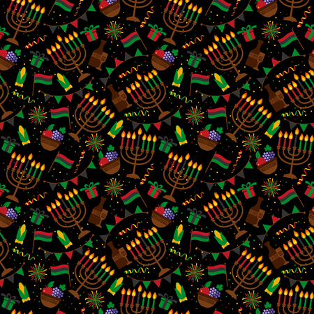 Seamless pattern for Kwanzaa with traditional colored and candles.