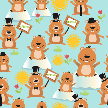 Happy Groundhog Day design seamless pattern with groundhogs Illustration