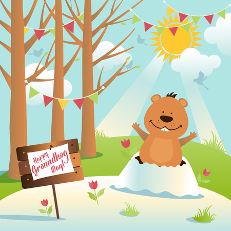 Happy Groundhog Day design with cute and funny groundhog