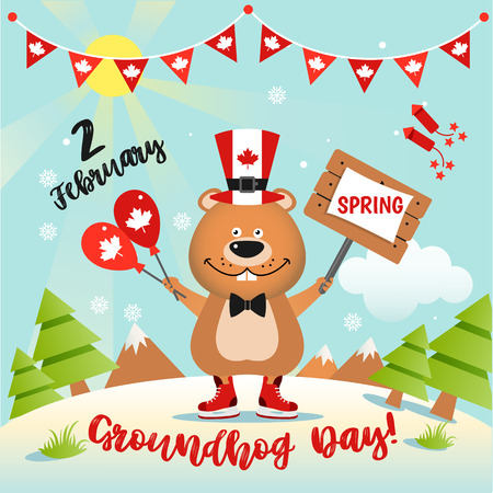Happy Groundhog Day design in Canada with funny groundhog