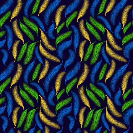 Seamless pattern. Feather on the dark blue.