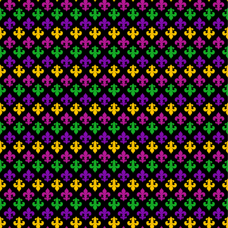 Mardi Gras Carnival seamless pattern with fleur-de-lis. Mardi Gras endless background, texture, wrapper. Illustration