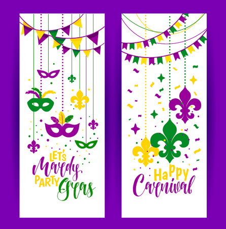 Mardi Gras colored vertical banners set with a mask and fleur-de-lis, isolated on white