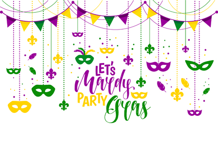 Mardi Gras icons colored frame with a mask, isolated on white background. Vector illustration