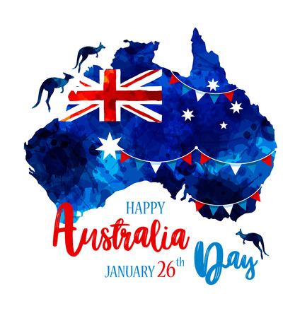 Happy Australia day lettering. Map of Australia with flag on a blue blots hand drawn