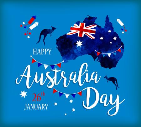 Joyeux jour de l'Australie. Carte de l'Australie avec le drapeau sur des taches bleues tirées par la main