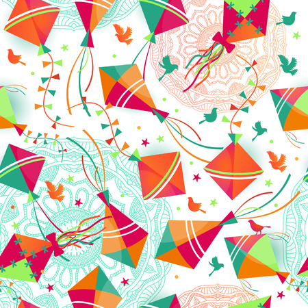 Seamless pattern with different kites. Vector illustration