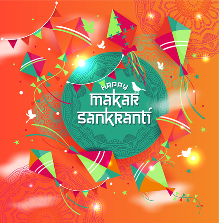 Happy Makar Sankranti with colorful kite string for festival of India