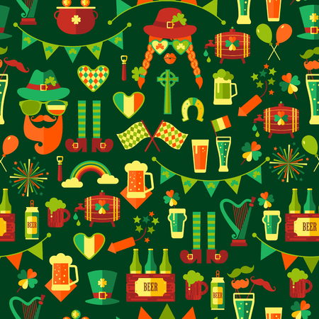 Seamless pattern for Saint Patricks day on green