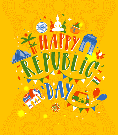 Happy Republic Day of India on yellow