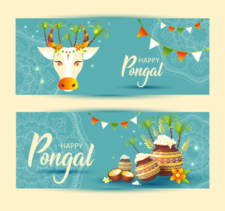South Indian Festival Pongal Background Template DesignPongal Festival Background Stock Vector - 122041880