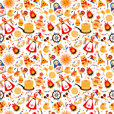 Shrovetide or Maslenitsa. Russian inscription Maslenitsa wide Wide Maslenitsa seamless pattern. Great Russian holiday Shrovetide.