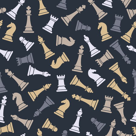 Seamless  pattern with chess on grey