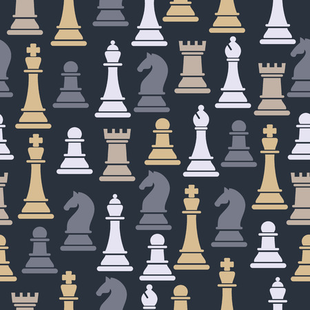 Seamless pattern with chess pieces. 向量圖像