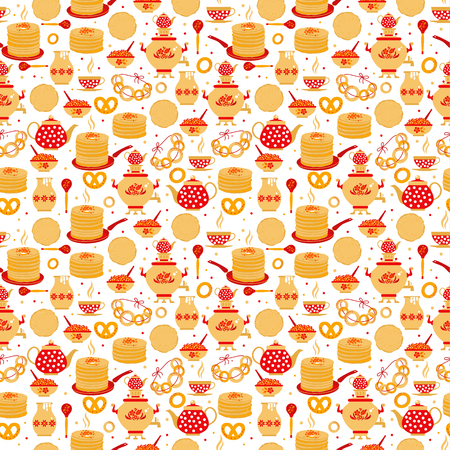 Shrovetide or Maslenitsa. Russian inscription Maslenitsa wide Wide Maslenitsa seamless pattern. Great Russian holiday Shrovetide. Stok Fotoğraf - 122041909